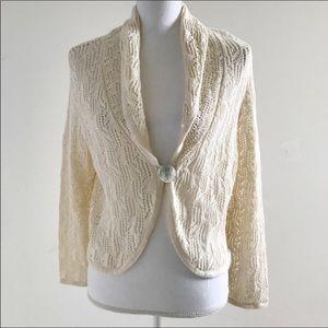 Nomadic Traders Crochet Cardigan Sweater Cream M